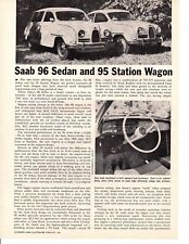 1961 SAAB 95 SEDAN & 96 STATION WAGON ~ ORIGINAL 3-PAGE ROAD TEST / ARTICLE / AD