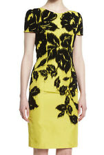 NEW $3490 Carolina Herrera 8 Short-Sleeve Flocked Silk Pencil Dress Black Yellow