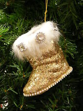 SANTA'S BOOT YULETIDE BOOT GOLD GLITTERED w/FAUX FUR TRIM & GEMS XMAS ORNAMENT