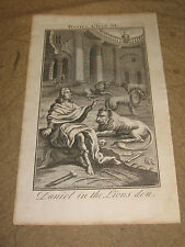Antique Old Master Religious Print Daniel in the Lions Den