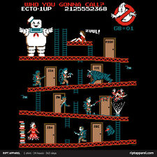 GHOSTBUSTERS Faux Video Game Donkey Puft TEEFURY Tee Stay/Kong 2 dvd wii T-SHIRT