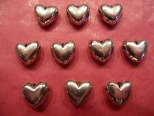 Plata tibetana hinchado corazón granos 10 por paquete