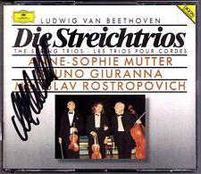 Anne-Sophie MUTTER Signed BEETHOVEN ROSTROPOVICH Streichtrios String Trio DG 2CD