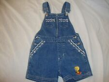 Girls Vintage WB Studio Store Denim Jean Shortalls Shorts Tweety Bird Small 7 8