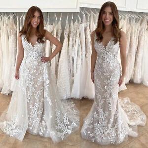 Wedding Dresses Applique Lace Sleeveless Flowers Backless Detachable Train Gown