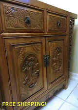 Antique Northern China Handmade Carved Cabinet