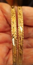 """18k Solid Yellow Gold  Two Bangles BRACELETS 8"""" ((C108))"""
