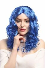 Peluca Mujer Carnaval largo Volumen Rizos rizado Raya en medio azul