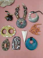 Vintage to modern big pendants lot mop gemstone mixed