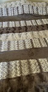 "Sew Sweet Minky Blanket XL Strip Neutral Beautiful!  NWT!  60"" x 80"" Soft"