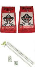 3x5 Pirate Pirates Only Trespassing 2ply Flag White Pole Kit Set 3'x5'