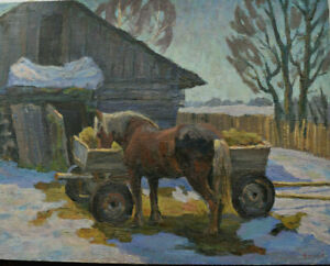 Antique Original 1971  Russian painting USSR oil on canvas Chaloi Leonty1929  38