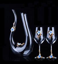 Set Antique Nordic Renaissance Vintage Brass Blue Crystal Glass Decanter Wine U