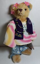 "Pickford Brass Button Bears 12"" IVY 1960's Flower Child Peace Love Hippie Bear"