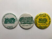 Vintage Lot of 3 John Deere Tractor Show Pin Back Buttons (Beaver Valley PA) *D*