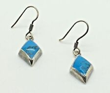 Diamond Shape French Hook Sterling Silver Turquoise Dangle Earrings