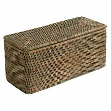 Grey Woven Rattan Trinket Box with Rounded Corners Storage and Lid