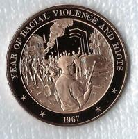 +1967 Detroit Riot - Solid Bronze Commemorative Medal. Franklin Mint.