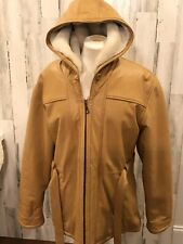 Vtg Wilsons Womens Coat Caramel  Leather Jacket Sherpa Lined Hood Sz Large