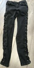 "Miss Selfridge Black Skinny Stretch Jeans 10 28"" Waist 28"" Length Lace Up Sides"