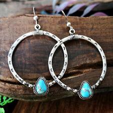 Women Vintage Boho 925 Silver Turquoise Gemstone Drop Dangle Hooks Earrings