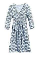 Robes bleus avec col en v pour femme