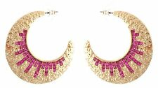 Zest Golden Creole Pierced Earrings With Mosaic Swarovski Crystals Hot Pink