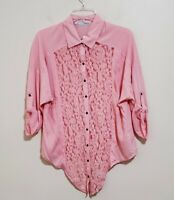 NEW Maurice's Blouse Shirt Top Lace Button Tie Front Roll Tab Sleeve Size Medium