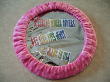 NEW HOT PINK FUZZY SOFT RAISED DOTS STEERING WHEEL COVER