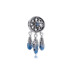 Blue Dreamcatcher Charm 925 Sterling Silver