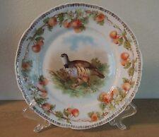 "Antique Game Bird Plate Porcelain Cherry Border C. Tielsch CT Germany 8.25"" C T"