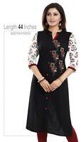 Women Indian Kurti Tunic Kurta Shirt Long Dress Black Cotton Embroidery MM245