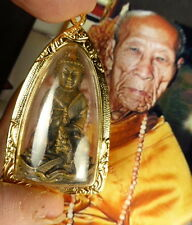 Bronze THAI PHRA KRING SRI SUTTHO NEUA SATTA LOHA BUDDHA AMULET LANG PHOR KAMBU