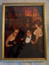 Framed Fast Cocktails by Juarez Machado, 9x12, gold embossed wood, art deco