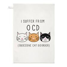 ATTACCHI di sonno, CAT disordine OCD TEA ASCIUGAMANO dish cloth-Crazy Cat Lady divertente