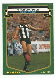 SCANLENS AFL 1985 - No. 43 - Mike Richardson - Collingwood - MINT