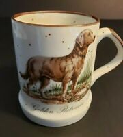 Vintage Golden Retriever Dog Coffee Cup Mug White Stoneware Enesco Speckled