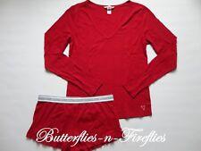 New NIP Victoria's Secret 2pc Pajama The Ribbed Ruffle Short PJ Set Red Size M