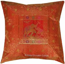 "Elephant 26"" Large Red Floor Pillow Cushion Cover Silk Brocade Throw India Decor"