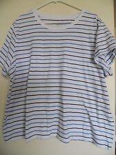 LL Bean, Women's White Striped  Crew Neck Top Shirt  Sz 3X