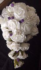 Wedding Flowers Shower Bouquet White & Purple Berries & Brooches & Butterflies