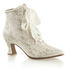 Ivory Off White Lace Bridal Vintage Victorian Flapper Wedding Shoes Womans Heels