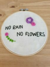 Handmade Flowers Embroidered Wall Hanging Hoop, Hand Embroidery