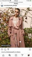 Veronika Maine Pink Viscose/linen Mix Unstructured Trench Size 10