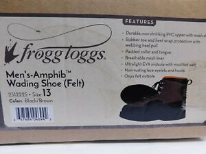 Frogg Toggs Mens Amphib  Wading Shoe Felt Black/Brown/ Size 13-See Note