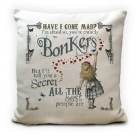 ALICE IN WONDERLAND Cushion Cover Bonkers Hearts Mad Hatter Tea Party Prop 40 cm