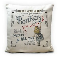 Alice in Wonderland Mad Hatter Tea Party Cushion Cover Bonkers Hearts
