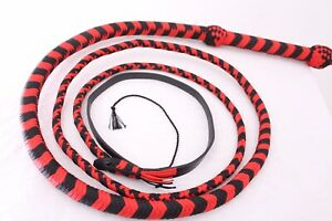 Bullwhip 6 Ft Long, Heavy Duty 12 Plait Nylon Weaving Red & Black Real Whip
