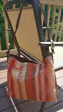 *LIZ CLAIBORNE LEATHER* Brown Leather & Striped Fabric Shoulder Satchel Handbag