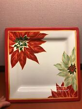 """Tabletops Unlimited 11"""" Square Plate Espana Life Style, Christmas Poinsettias"""